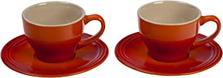 Le Creuset PG8000-052 Stoneware Set of 2 Cappuccino Cups and Saucers, One Size, Flame