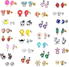 29 Pair Stainless Steel Gold Plated Mixed Color Cute Animal Food Dog Bone Popsicle Donut Star Ladybug CZ Faux Pearl Daisy Flower Stud Earring Set for Girls Kids