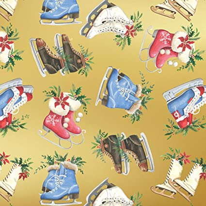 Christmas Gift Wrap Wrapping paper roll Christmas Wrapping Paper Ice Skates Holiday Gift Wrapping Paper Sheets
