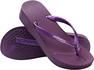 473907341af Hotmarzz Women s Fashion High Heel Stylish Platform Flip Flops Wedge Sandals  Summer Beach Slippers White