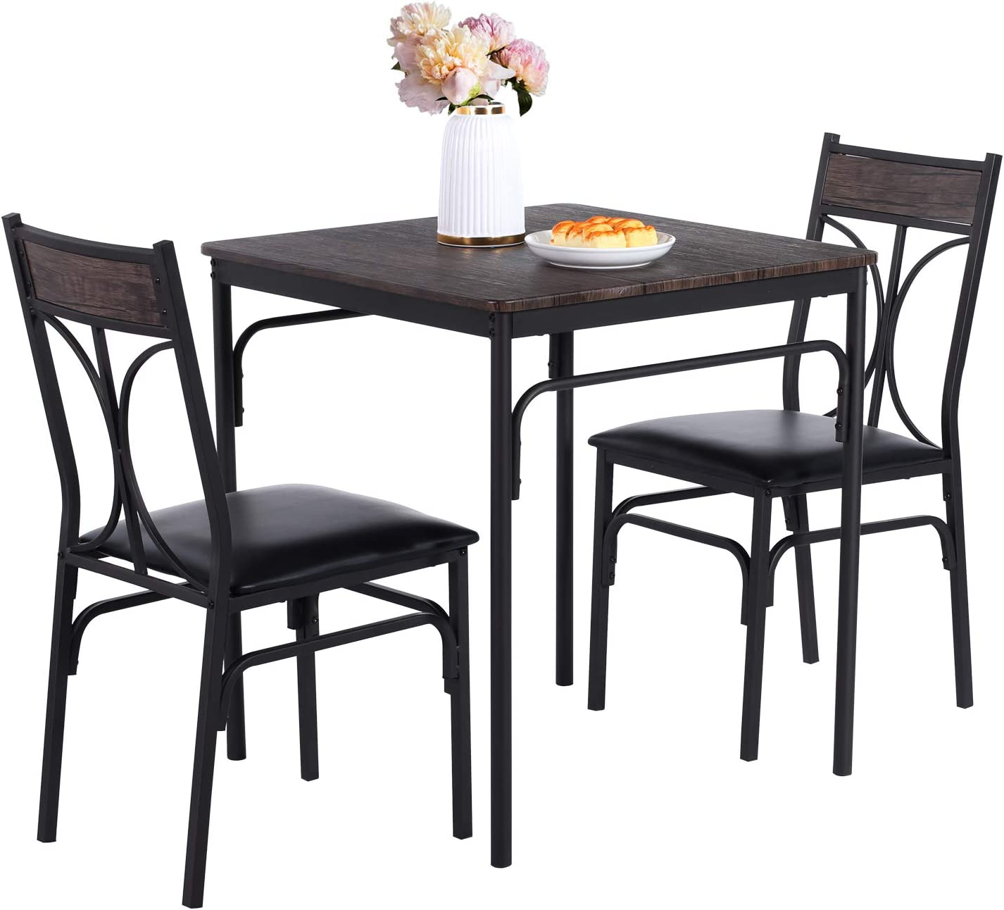 Buy VECELO 9 Piece Dining Room Kitchen Table and Pu Cushion Chair ...