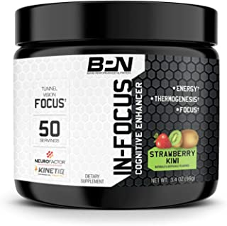 Bare Performance Nutrition, in-Focus, Cognitive Enhancer, Thermogenic, Nootropic, Energy, (50 Servings, Strawberry Kiwi)