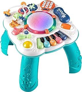 اسباب بازی های بچه ای Dahuniu 6 تا 12 ماه ، یادگیری میز موسیقی ، میز فعالیت برای 1 2 3 سال (اندازه: 11.8 11. 11.8 12 12.2 اینچ)