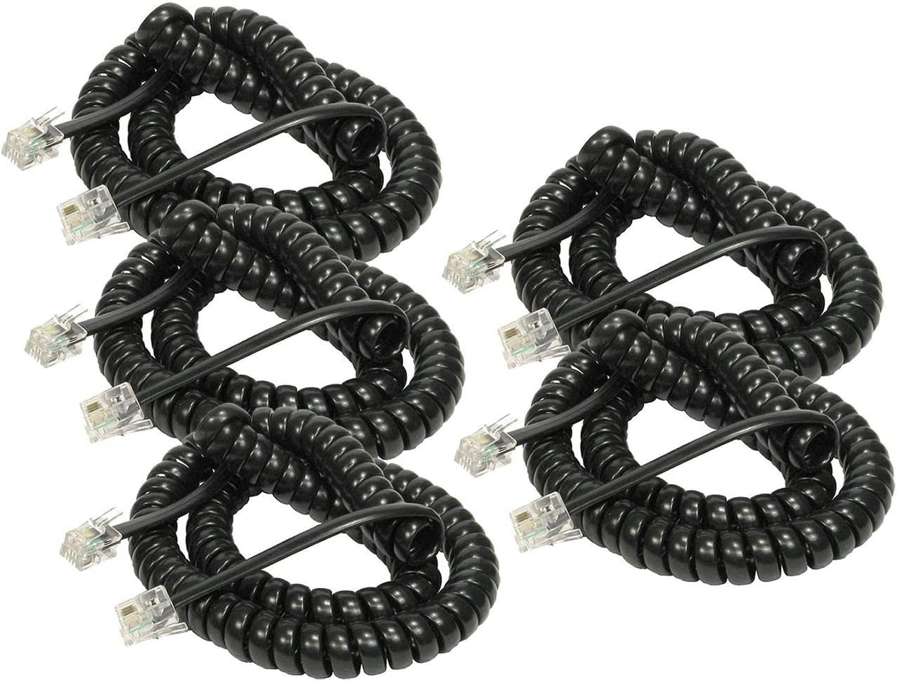 iMBAPrice (5 Pack) Black Telephone Headset Cable - (3 to 12 Feet) Heavy Duty Coiled Telephone Handset Cord