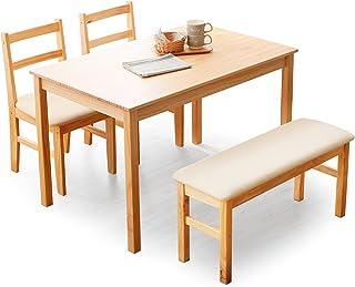 LOWYA (ロウヤ) ダイニングセット ダイニングテーブル 4点セット パイン無垢材 天然木 面取り加工 ウレタンクッション ファブリック 4人掛け ベンチタイプ ナチュラル/ベージュ おしゃれ 新生活