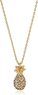 Kate Spade New York Womens Pave Pineapple Mini Pendant Necklace, Clear/Gold