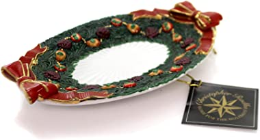 Christopher Radko Palladian Garland Canape Plate, Porcelain, Home for The Holidays Fruit, Decorative Platters, 985620