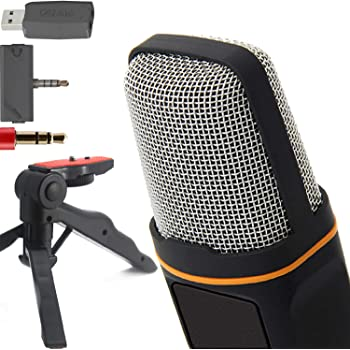 """ZaxSound SF666PRO Professional Cardioid Condenser Microphone and Tripod Stand for PC, Laptop, iPhone, iPad, Android Phones, Tablets, xBox and YouTube Recording 6"""" Black"""