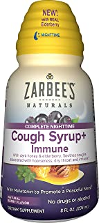 Zarbee's Naturals Complete Nighttime Cough Syrup + Immune with Dark Honey, Real Elderberry, and Melatonin, 8 Ounce Bottle