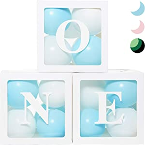 First Birthday Balloon 'ONE' Boxes for Baby Boy WITH 24 Balloons - Baby 1st Birthday Boy Decorations Clear Cube Blocks 'ONE' Letters as Cake Smash Photoshoot Props First Birthday Decorations Backdrop