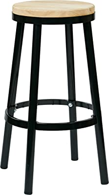 OSP Home Furnishings Bristow Antique Metal Barstool with Ash Wood Seat, 30-inch, Black Frame