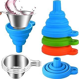 لوازم جانبی چاپگر 3 بسته ای شامل قیف های سیلیکونی جمع شونده و لیوان های فیلتر رزین استیل ضد زنگ برای ریختن رزین به داخل بطری