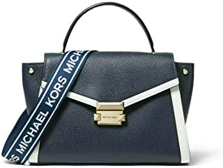 MICHAEL Michael Kors Whitney Medium Logo Tape Pebbled Leather Satchel in Admiral/Optic White
