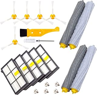 DerBlue Replacement Parts for iRobot Roomba 800 and 900 Series Vacuums, with 5 Pcs Hepa Filter, 5 Pcs 3-ArmedSide Brush, 2 Set Tangle-Free Debris Rollers