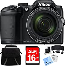 Nikon COOLPIX B500 16MP 40x Optical Zoom Digital Camera w/Built-in Wi-Fi 16GB Bundle Includes Camera, Bag, 16GB Memory Card, Reader, Wallet, Screen Protectors, Cleaning Kit and Beach Camera Cloth