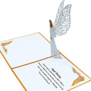 Guardian Angel Pop up Card With Envelope   3D Angel Card for Christmas, Easter, Get Well Soon Card, Funeral, Bereavement, Memorial, Get Well Soon Card   Comes With Angel Blessing Inspirational Quote