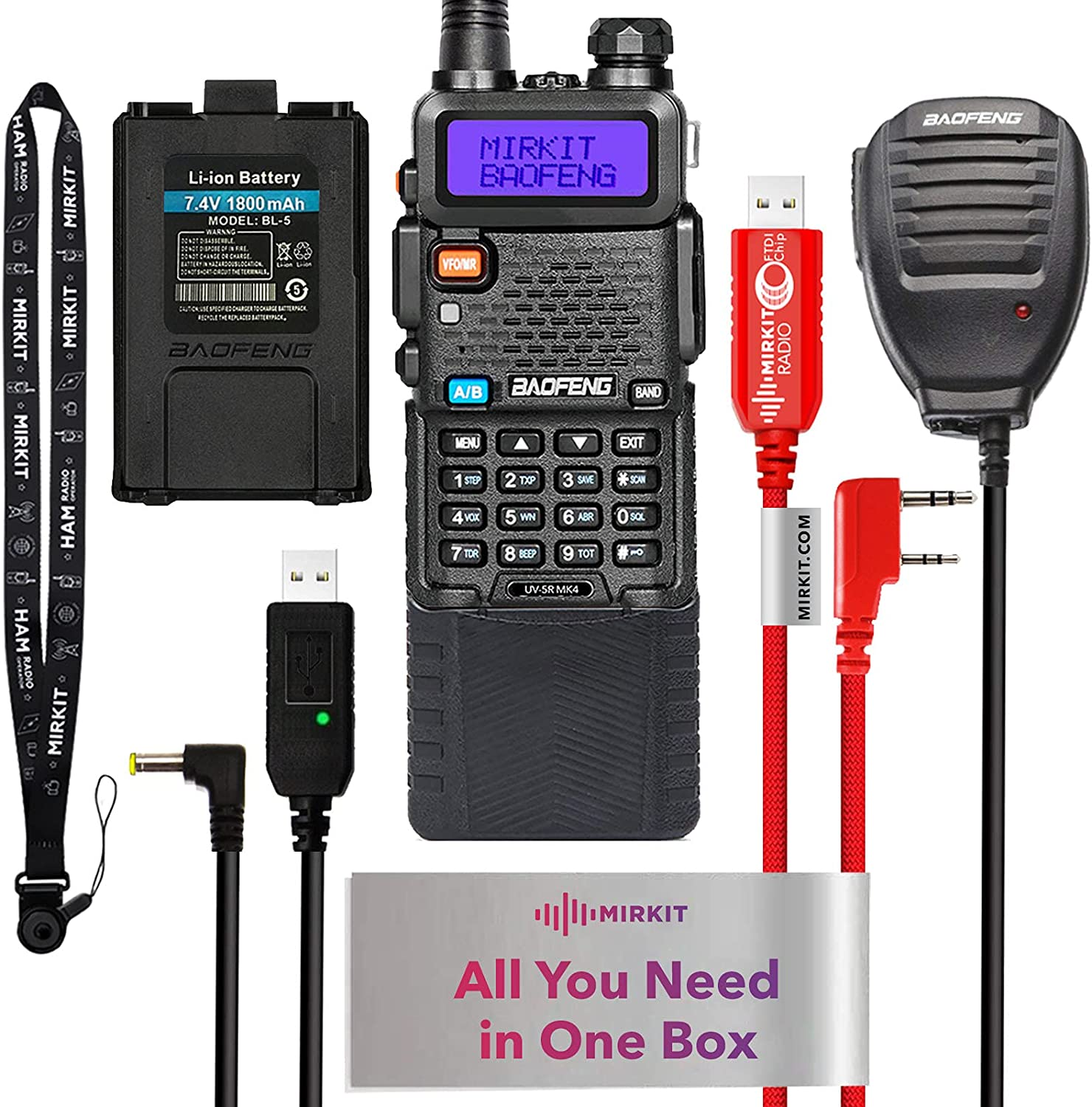 Mirkit Extra Pack Ham Radio Baofeng UV 5R MK4 8 Watt Max Power 2021 Two Way Radio with Baofeng Accessories: Battery 3800 mAh, Handheld Speaker Mic, Programming Cable and Mirkit Software - Extended Kit