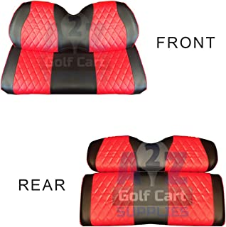 GCGC Club Car Precedent Front & Rear Seat Covers | Black & Red |