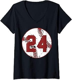 Womens Vintage Baseball Number 24 Shirt Cool Softball Mom Gift V-Neck T-Shirt