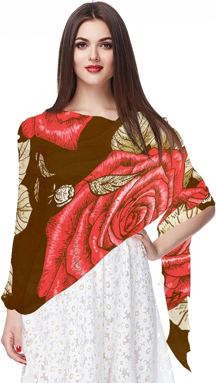 Scarfs for Women Lightweight Print Floral Pattern Scarf Shawl Fashion Scarves Sunscreen Shawls, Vintage Flowers Patterns