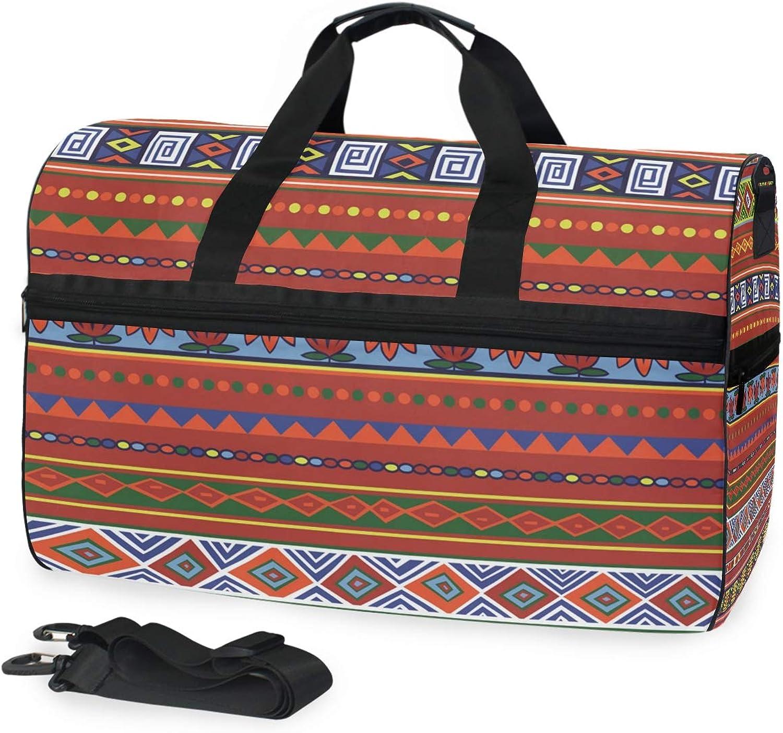 FANTAZIO African Folk Pattern Sports Duffle Bag Gym Bag Travel Duffel with Adjustable Strap