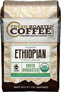 Fresh Roasted Coffee LLC, Green Unroasted Ethiopian Yirgacheffe Coffee Beans, Fair Trade, USDA Organic, 5 Pound Bag