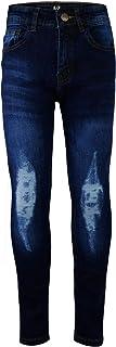Kids Boys Stretchy Jeans Knee Ripped Denim Skinny Bikers Pants Slim Trouser 5-13