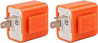 Motorcycle Flasher Relay, Sdootauto 2 Pcs 12V 2-Pin Adjustable Flasher Turn Signal Flasher Relay Hyper Indicator Flash- Orange
