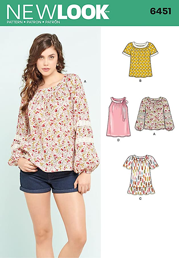 New Look Patterns Misses' Blouse with Length and Sleeve Variations A (10-12-14-16-18-20-22) 6451