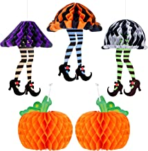 Boao 3 Pieces Halloween Paper Honeycomb Novelty Skirt with High Heels and 2 Pieces Honeycomb Paper Tissue Pumpkins Halloween Hanging Honeycomb Decoration