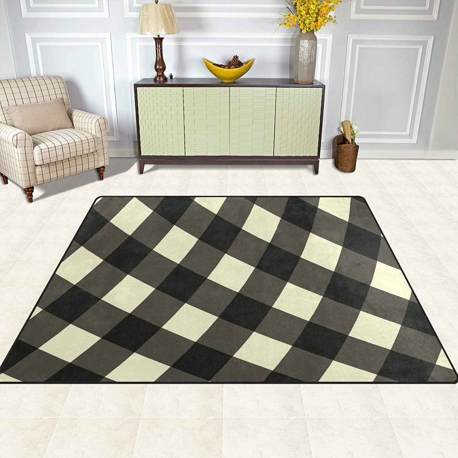 FAJRO Striped-Yellow Black Checker Gingham Rugs for entryway Doormat Area Rug Multipattern Door Mat shoes Scraper Home Dec Anti-Slip Indoor Outdoor