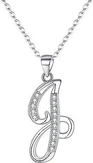 EVER FAITH 925 Sterling Silver CZ Cursive Initial 26 Letters Alphabet Adjustable Pendant Necklace Clear