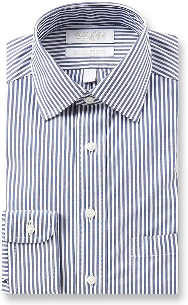 Gold Label Roundtree & Yorke Non-Iron Fitted Spread Collar Stripe Dress Shirt F75DG143