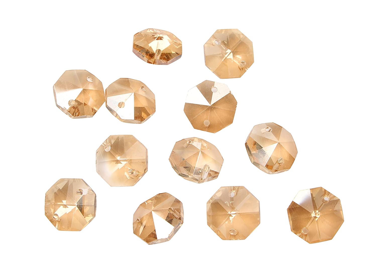 Sun Cling Crystal 14mm Octagon Beads, Pack of 100 (Champagne Gold AB)