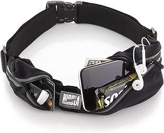 Hirola cangurera premium. Cinturón deportivo de alta calidad con 2 bolsas; perfecta para correr, hacer ciclismo, crossfit ...