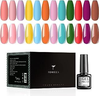 TOMICCA Gel Polish Set 12 Candy Bright Colors Yellow Orange Green Red Soak Off UV LED Gel Polish, Nail Art Manicure Pedicu...