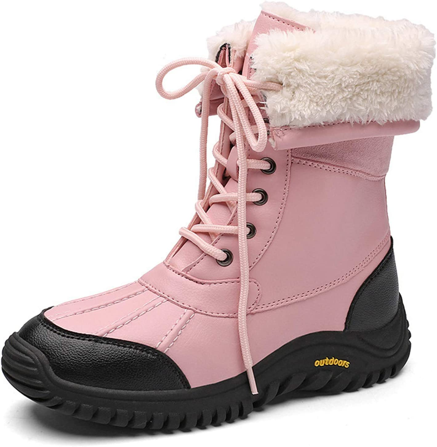 Women's Snow Boots Winter Sneakers Non-Slip Waterproof Walking Hiking Trekking Shoes Warm Fur Lined Outdoor Casual Lace Up Sneakers,Pink,37
