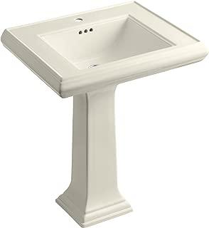 KOHLER K-2258-1-47 Memoirs Classic 27-Inch Pedestal Bathroom Sink with Single Faucet Hole, Almond