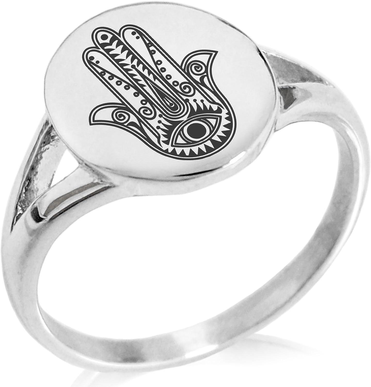 Tioneer Stainless Steel Evil Eye Hamsa Hand of Fatima Symbol Minimalist Oval Top Polished Statement Ring