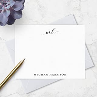 Monogrammed Stationery Set Personalized with Full Name - Boxed Note Card Set - Choose Ink and Envelope Colors