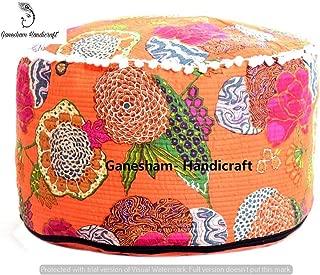 Hippie Gypsy Boho Decor Living Room Cotton Handmade Designer Bean Bags Ethnic Seating Pouf Bohemian Decorative Indian Kantha Floor Pillows & Cushion Vintage Footstool & Pouf Otoomans