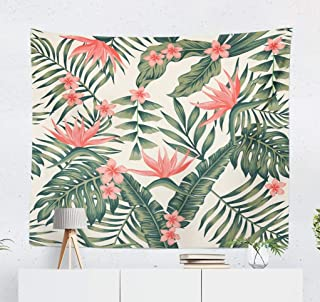 ASOCO Banana-Palm Tapestry, Tapestry Wall Hanging Beach Cheerful Wallpaper Tropical Dark Green Leaves Palm Wall Tapestry for Bedroom Living Room Tablecloth Dorm 60