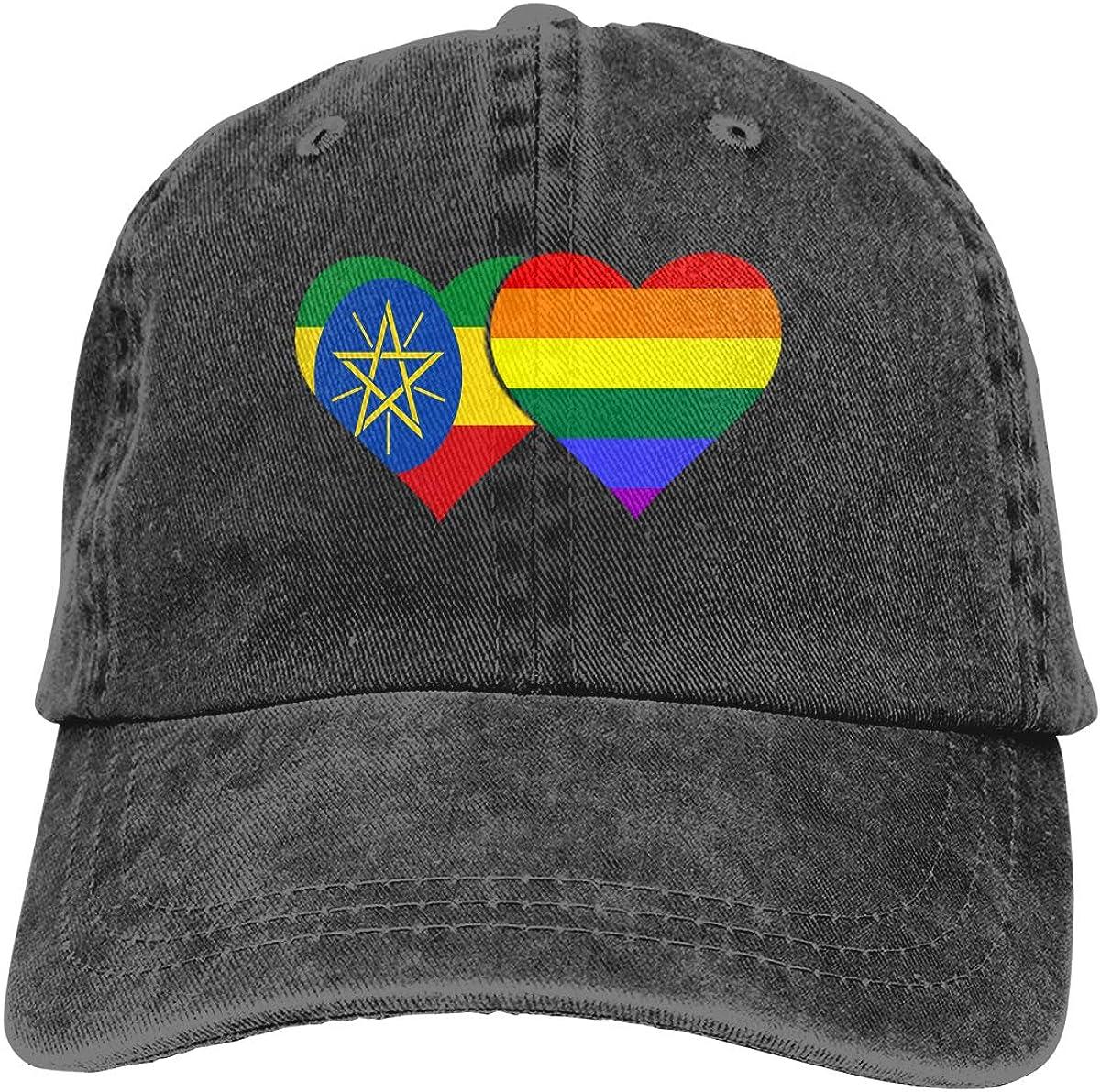 Ethiopia Flag LGBT Flag Denim Hat Adjustable Plain Cap Baseball Caps