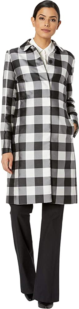 Large Check Peter Pan Collar Long Coat