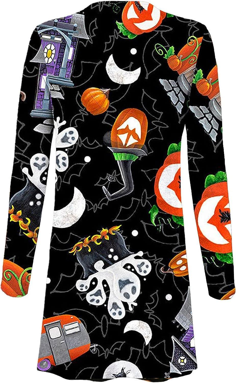 Womens Open Front Cadigan Halloween 2021 Funny Pumpkin Ghost Graphic Tops Long Sleeve Jacket Coat Party Outwear