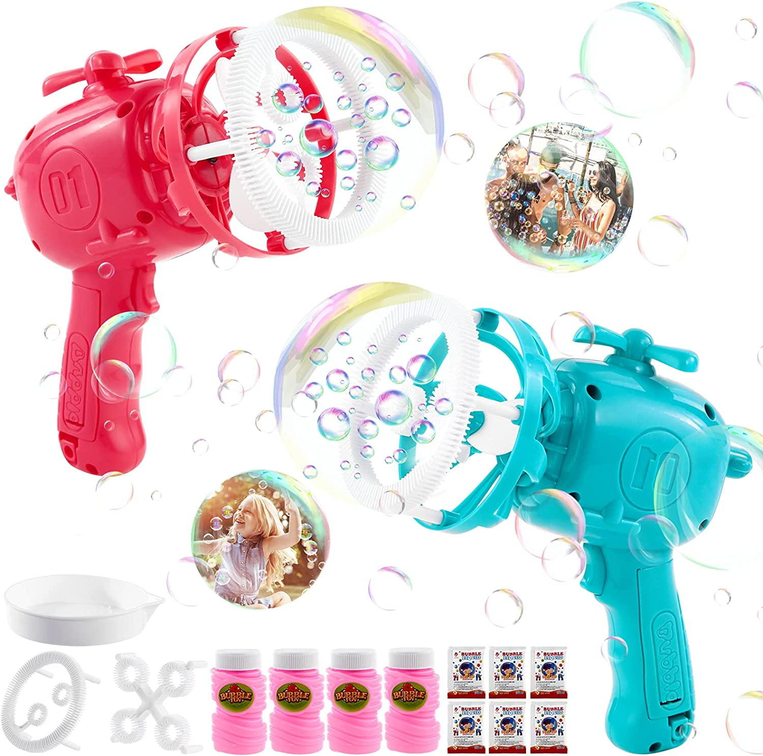 GOHEYI 2 Pack Bubble Guns Blower for Kids with 4 Bottles Bubble,