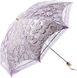 Honeystore Lace Travel Parasol Folding Anti-uv Windproof Embroidery Umbrella