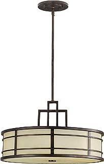 Feiss F2081/3GBZ Fusion Onyx Drum Pendant Lighting, Bronze, 3-Light (21