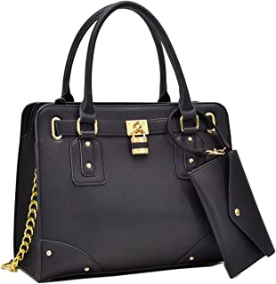 1988 MMK Collection Women's Satchel Handbags with Padlock and FREE Matching Coin Purse (6486)