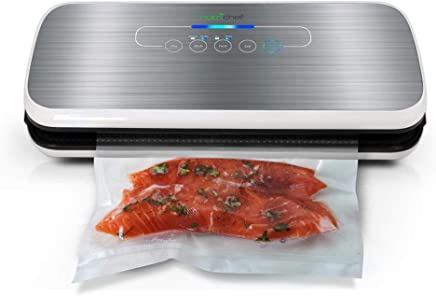 NutriChef Vacuum Sealer | Automatic Vacuum Air Sealing System For Food Preservation w/Starter Kit | Compact Design | Lab Tested | Dry & Moist Food Modes | Led Indicator Lights (Silver)
